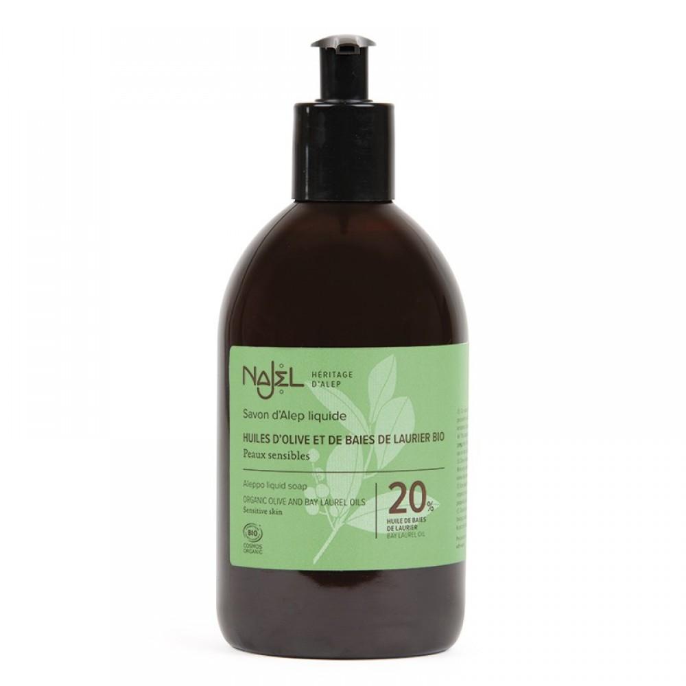 Aleppo Liquid Soap 20% BLO certified Cosmos Organic